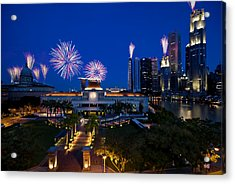 Acrylic Print featuring the photograph Fireworks Over Parliament by Ng Hock How