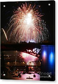 Fireworks Over The River Acrylic Print by Keith Dillon