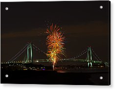 Fireworks Over The Verrazano Narrows Bridge Acrylic Print