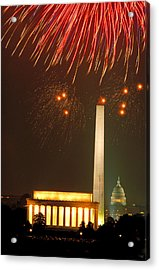 Fireworks Over Washington Dc Mall Acrylic Print by Carl Purcell