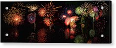 Fireworks Reflection In Water Panorama Acrylic Print
