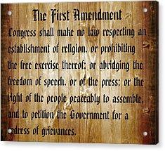 First Amendment Barn Door Acrylic Print