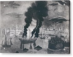 First Barbary War 1801-1805. Burning Acrylic Print by Everett