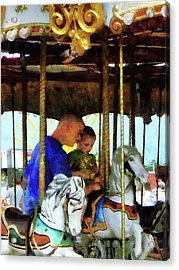 First Carousel Ride Acrylic Print by Susan Savad