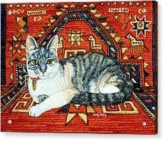 First Carpet Cat Patch Acrylic Print by Ditz