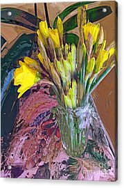 First Daffodils Acrylic Print by Alexis Rotella