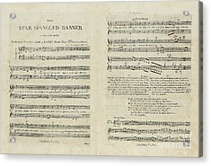 First Edition Of The Sheet Music For The American National Anthem Acrylic Print by Francis Scott Key