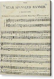 First Edition Of The Sheet Music For The Star Spangled Banner Acrylic Print by American School