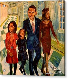 First Family Obama's Acrylic Print by Keith OBrien Simms