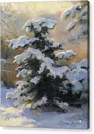 First Heavy Snow Acrylic Print by Anna Rose Bain