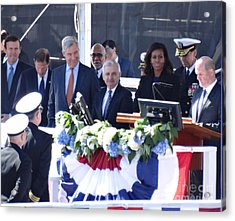 First Lady Michelle Obama At The Christening Of The Illinois Ssn 786 Acrylic Print