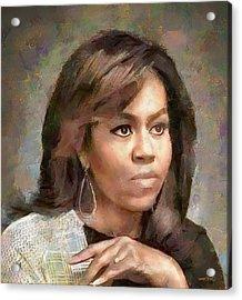 First Lady Michelle Obama Acrylic Print by Wayne Pascall