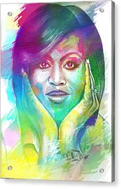 Acrylic Print featuring the mixed media First Lady Obama by AC Williams