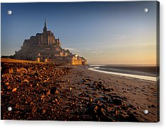 First Light On The Mont St Michel Acrylic Print by Dominique Dubied