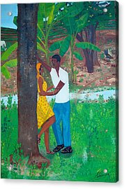 Acrylic Print featuring the painting First Love by Nicole Jean-louis