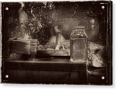 First Run Of Moonshine In Black And White Antiqued Acrylic Print