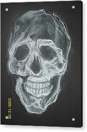 First Skull Work Acrylic Print by Nancy  Caccioppo