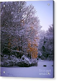 First Snow After Autumn Acrylic Print