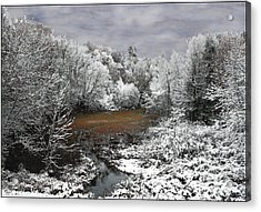 Acrylic Print featuring the photograph First Snow On An Oxbow by Wayne King