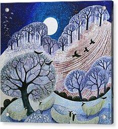 First Snow Surrey Hills Acrylic Print by Lisa Graa Jensen