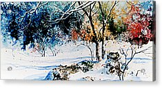 First Snowfall Acrylic Print by Hanne Lore Koehler