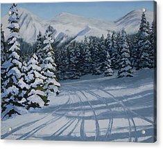 First Tracks Acrylic Print by Mary Giacomini