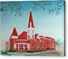 First United Methodist Church  Terrell Tx Acrylic Print by Darren Yarborough