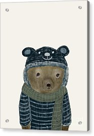 Acrylic Print featuring the painting First Winter Bear by Bri B