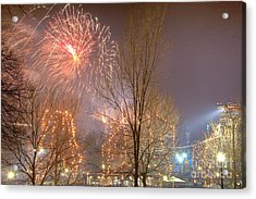 Acrylic Print featuring the photograph Firstnight Fireworks by Susan Cole Kelly