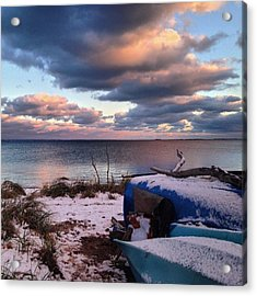 #firstsnow #provincetown Acrylic Print by Ben Berry