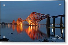 Forth Bridge At Twilight Acrylic Print by Maria Gaellman