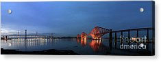 Firth Of Forth Bridges At Twilight - Panorama Acrylic Print by Maria Gaellman