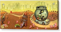 Fish Circus - Landscape Acrylic Print by Luis Diaz