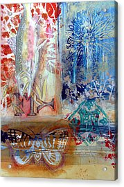 Acrylic Print featuring the mixed media Fish Collage #1 by Rose Legge