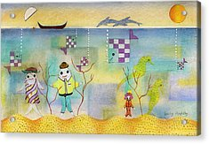 Fish Family Acrylic Print by Sally Appleby