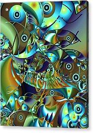 Acrylic Print featuring the digital art Fish Fiesta by Lynda Lehmann