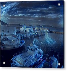 Fish Harbour Paros Island Greece Acrylic Print