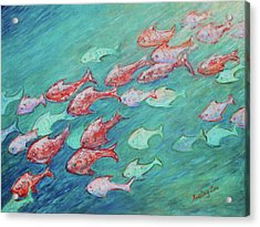 Acrylic Print featuring the painting Fish In Abundance by Xueling Zou