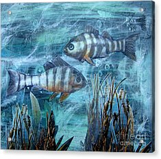Acrylic Print featuring the mixed media Fish In Icy Water by Patricia Januszkiewicz
