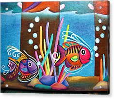 Fish On Parade Two Acrylic Print by Lori Miller