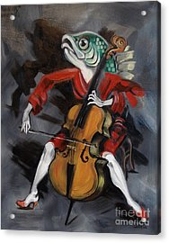 Fish Playing Cello Acrylic Print by Ellen Marcus