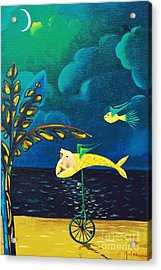 Fish Riding A Unicycle Acrylic Print by Jose Luis Montes