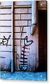 Fishbone Graffiti Acrylic Print by Ferry Ten Brink
