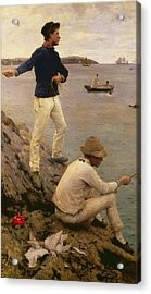 Fisher Boys Falmouth Acrylic Print by Henry Scott Tuke