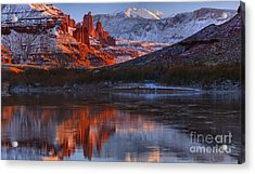 Acrylic Print featuring the photograph Fisher Towers And La Sal Mountains by Adam Jewell
