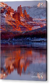 Fisher Towers And Snow Caps Acrylic Print