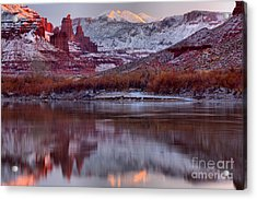Acrylic Print featuring the photograph Fisher Towers Fading Sunset by Adam Jewell