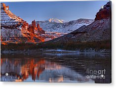 Acrylic Print featuring the photograph Fisher Towers Glowing Reflections by Adam Jewell