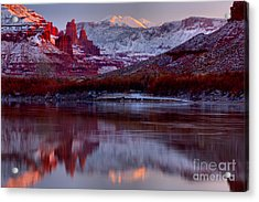 Acrylic Print featuring the photograph Fisher Towers Landscape Glow by Adam Jewell