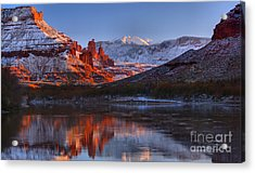 Acrylic Print featuring the photograph Fisher Towers Sunset Glow Panorama by Adam Jewell